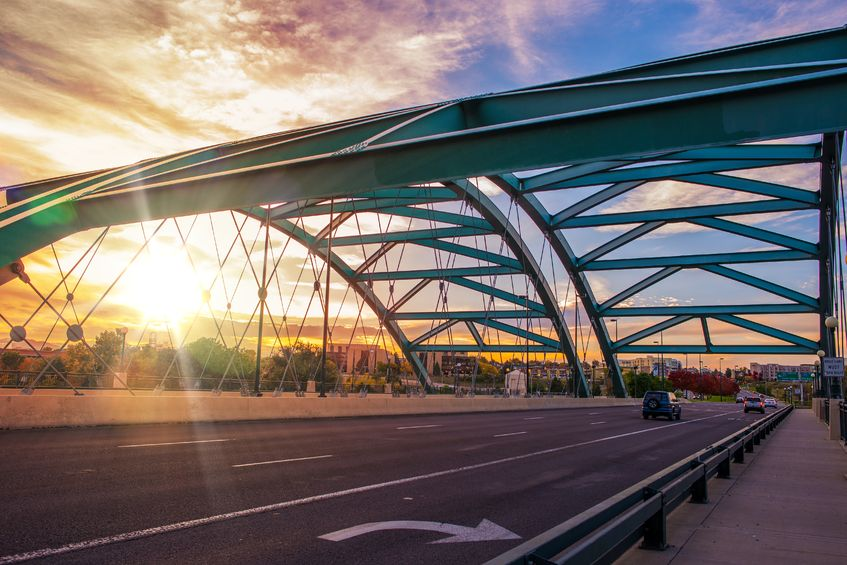 Speer Boulevard Bridge at Sunset