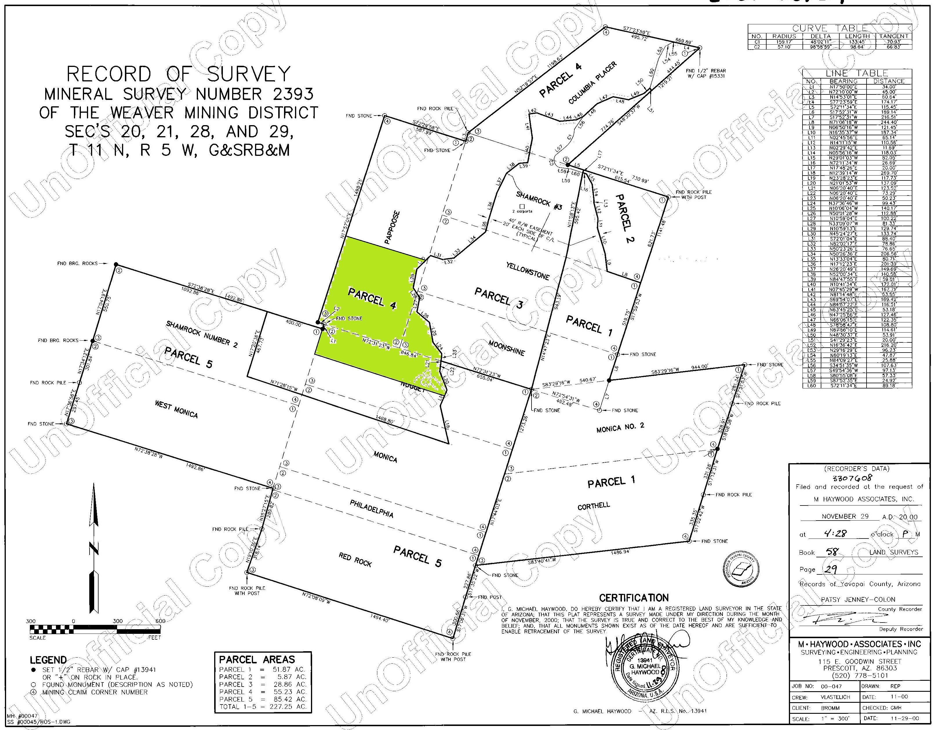 Plat map of the parcel